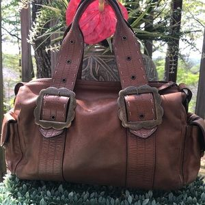 AUTH Hype Soft Brown Leather Large Satchel Bag GUC